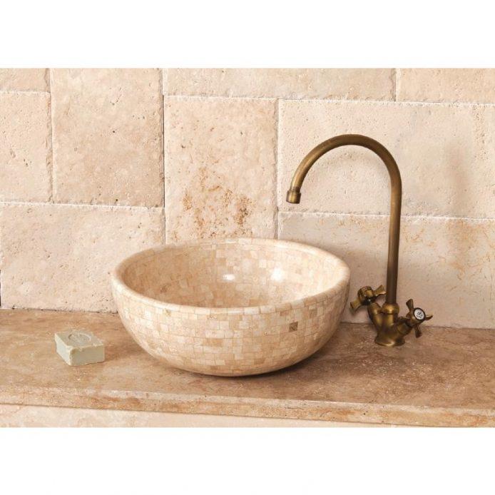 Vasque ronde en travertin apex pierre - Joint pret a poser salle de bain ...